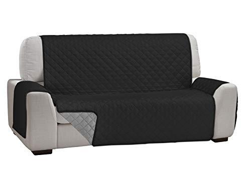 Martina Home Martina Dual Cover Cubre Sofá Acolchado Reversible, Negro / Gris, 3 Plazas