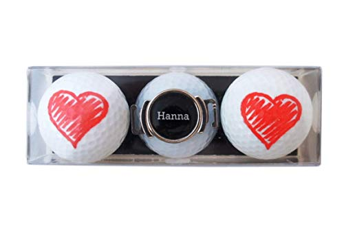 RoLoGOLF Geschenk-Set: 2 Golfbälle mit Herz und Schuh-Clip + Marker mit VORNAMEN, über 1500 Namen sofort erhältlich! Geschenk Idee für alle Golfer!