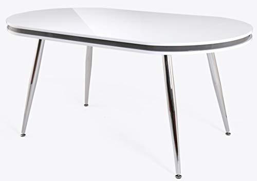 Mesa comedor ovalada blanca patas acero comedor salón moderno cocina 160x90x76