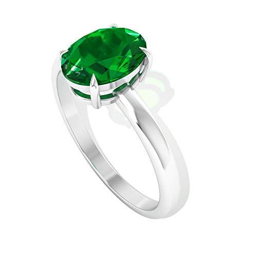 Anillo de compromiso con solitario de 1,26 ct, esmeralda creada en laboratorio, anillo de boda con piedras preciosas de mayo, declaración de dama de honor, 14K Oro rosa, Size:EU 64