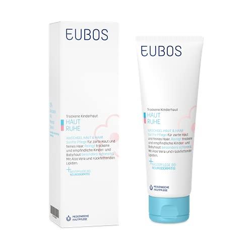 Eubos Haut Ruhe Waschgel, trockene, empfindliche Kinder- und Babyhaut und-Haar, auch Therapie begleitend bei Neurodermitis, 125 ml