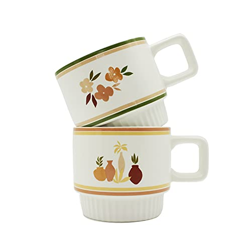 JMCRATE Coffee Mug Set, Large Stackable Coffee Mugs with Handle for Tea, Cocoa, Juice, Gift, 11 Ounce Porcelain Ceramic Cups for Office and Home, Set of 2