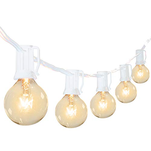 Outdoor Patio String Lights 100Feet G40 Backyard Lights with 104 5W Edison Clear Bulbs(4 Spare), UL Listed Waterproof Hanging Lights for Balcony Porch Bistro Party Decor, C7 E12 Socket, White