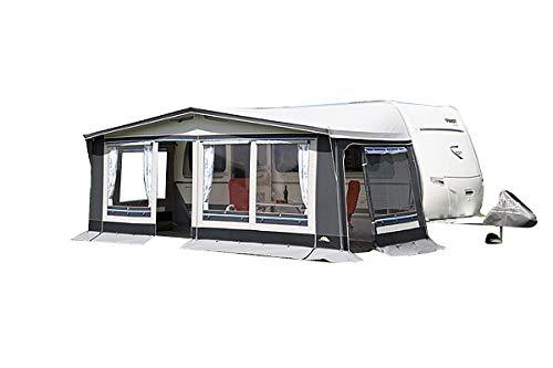 dwt Vorzelt Polo 240 tief grau Saisonzelt Camping Outdoor Wohnwagenvorzelt Ganzzelt 5-teilig Reisezelt Caravan, Größenauswahl:Gr. 14 Umlaufmaß 941-970 cm