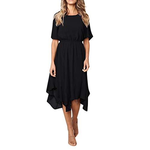 KIMODO Damen Kleider Einfarbig Frauen Kleider Knielänge Kleid O Hals Partykleid Kurzarm Abendkleid Beiläufig Sommer Strandkleid Mode 2019