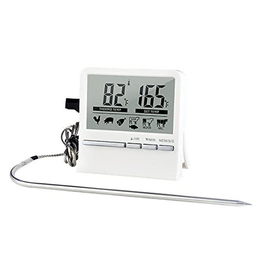 WishHome Termómetro Digital Electrónico para Barbacoa Temporizador de Termómetro de Parrilla Magnética con Sonda Sensible a La Pantalla Lcd Digital
