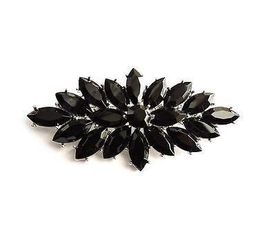 Klaritta Brosche im Vintage-Stil, schwarzer Kristall, Blumenstrauß, Party, Abschlussball, Hochzeit BR329