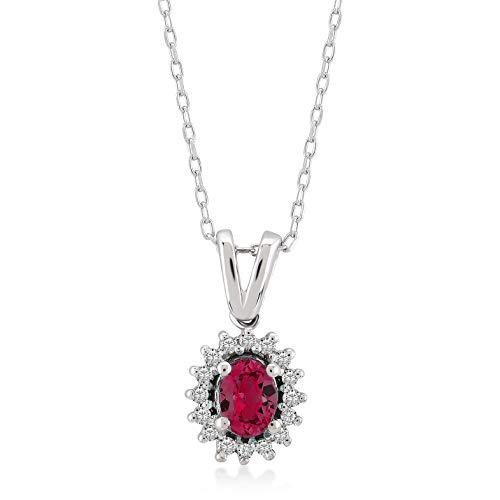 GELIN 14k White Gold 0,04 ct Real Diamond Teardrop Ruby Pendant Necklace for Women, 18'