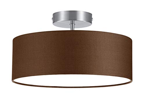 Trio - Plafón con 2 luces, E14, pantalla de algodón marrón, diámetro 30 cm, color marrón