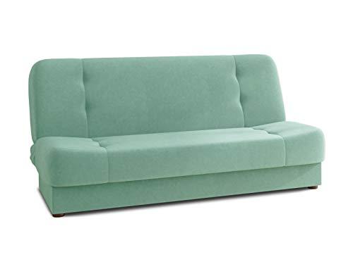 Schlafsofa Sena - Sofa mit Schlaffunktion, Velours Stoff, Bettsofa mit Bettkasten, Couch, Sofagarnitur, Couchgarnitur (Mintgrün (Manila 11))