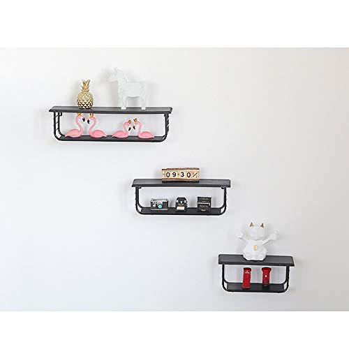 Houten standaard, eenvoudig en modern, creatief, voor woonkamer, wand, dubbellaags, multifunctioneel. 34x12x14.3cm Zwart