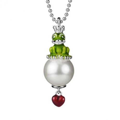 Heartbreaker Anhänger Froggy mit Perle (inkl. Kette/Perlengröße 1,3cm) Sterlingsilber 925 - green froggy - LD FG 35 GR
