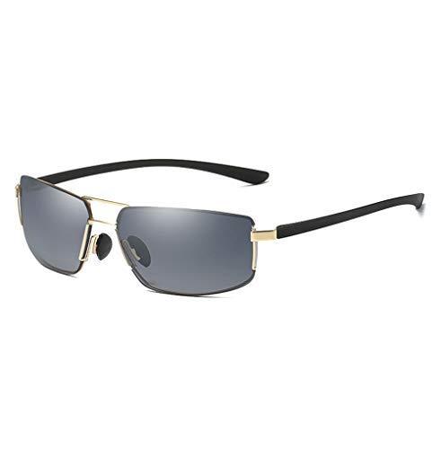 ZJN-JN - Gafas de sol para hombre, sin marco, estilo vintage y cuadrado, color plateado, tamaño: gratis, color dorado