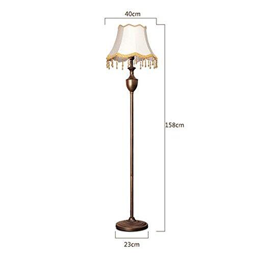 Vloerlamp Europese Bronzen Smeedijzeren Vloerlamp Fringe Decoratieve Stof Lampenkap Vloerlamp voor Slaapkamer Woonkamer Studeerkamer, Φ23cm H158cm E27
