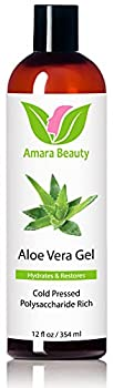 Aloe Vera Gel from Organic Cold Pressed Aloe for Face Body and Hair 12 fl oz.