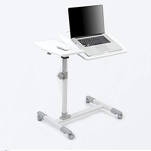 Home Furniture Portable Laptop Stand Desk Cart with Mouse Board Adjustable Height 360 deg Swivel and 180 deg Tilt Lockable Casters