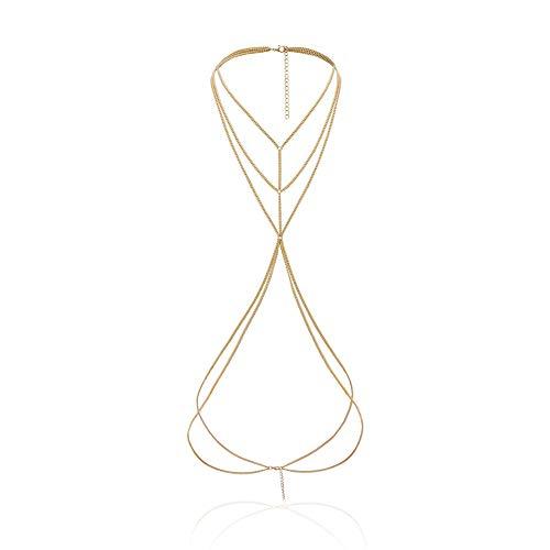 TUANTALL Collar Espalda Collar Cadena de Oro para Mujer Granos de Cintura Cadena del Vientre para la Cintura de Las Mujeres Cadenas corporales para Mujer Gold
