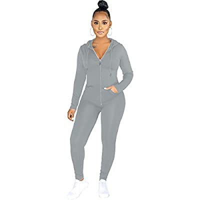 LINLIS Two Pieces Outfits for Women's Solid Sweatsuit Long Sleeve Zipper Hoodie and Tights Long Pants Sport Suits Tracksuits (Gray, M)
