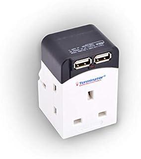Terminator Multi Adaptor 3 Way Socket With 2000mA 2USB Sockets 13A Plug