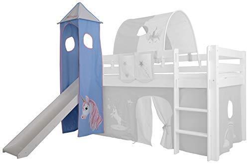 XXL Discount Turm-Vorhang 100% Baumwolle für Hochbett Spielbett Stockbett Kinderbett Kinderzimmer Spielturm mit Turmgestell (Blau/Rosa, Einhorn)