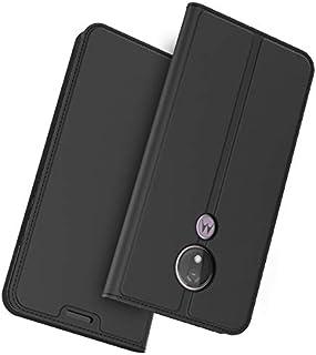 (の Motorola Moto G7 Power (American Version)) フリップ 財布 シェル カバー 360度 フル ボディー 保護 緩衝器 カバー, プレミアム パウチ 材料 - Black