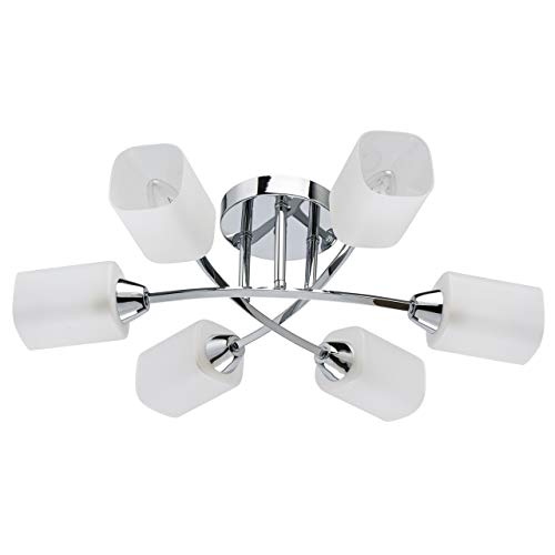 DeMarkt 638015406 - Lámpara de techo (estructura de metal cromado, pantalla de cristal satinado mate, 6 bombillas de 60 W, E14, 220 V)