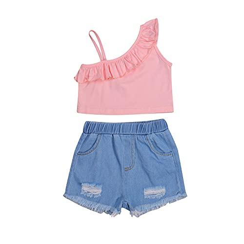Conjunto de ropa de verano para niñas y niños, con un hombro sin mangas y pantalones cortos de mezclilla rasgados