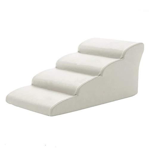 Escaliers pour Chiens Portable Comfort Pet Échelon Rampe, Chats Chiens Stairs échelle for Haut Canapé-lit, Couverture Amovible, Support jusqu'à 198lbs - Blanc (Size : 4 Step (H-35cm))