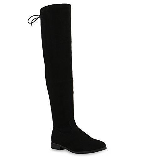 Basic Damen Overknees Schleifen Stiefel Velours Samt Flach Langschaftstiefel Overknee Boots Blockabsatz Schuhe 123949 Black 36 Flandell