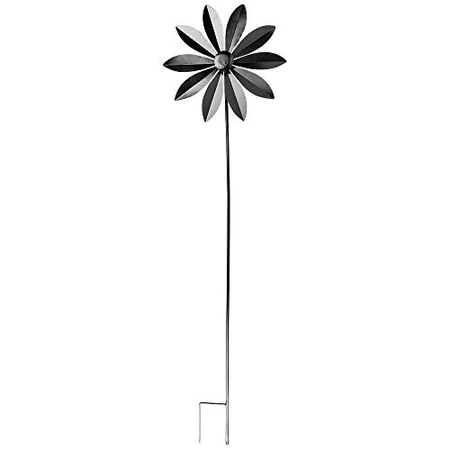 Ideen mit Herz Windrad aus Metall   für den Garten   schwarz   Windspiel   Gartendeko   ideal zum Bemalen und Weiterverzieren (Design 1   Ø 28,5 cm   Höhe 107 cm)