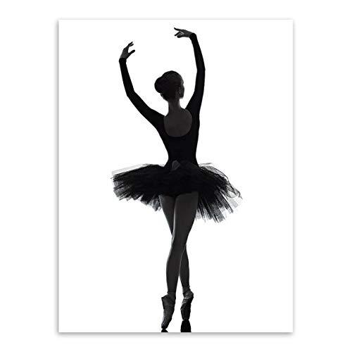 WXZhome Bailarina de Ballet Elegante en Blanco y Negro Ballet clásico Acción Lienzo Pintura Decoración Inicio Arte de la Pared Carteles e impresiones-60x80cm_No_Frame_3_No_Frame