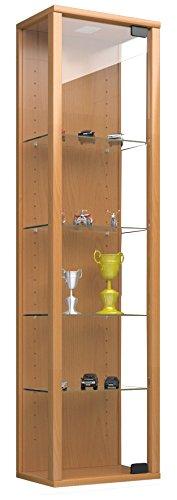 VCM 911787 vitrine wandvitrine verzamelvitrine glazen vitrine muur plank kast glas hangvitrine zonder verlichting beuken Stano Mini, 115 x 33 x 18 cm