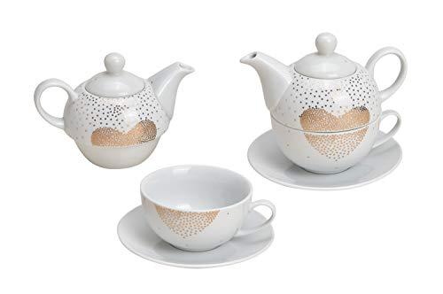 Tea for One Set mit goldenen Herzen (Kanne & Tasse & Untertasse)