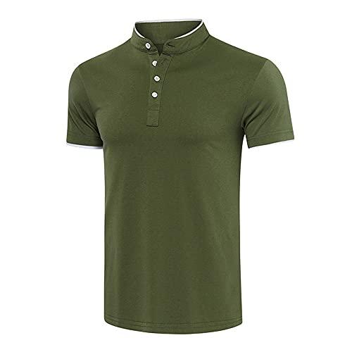 Hombres Manga Corta Verano Botones Sueltos Elasticidad Camisas Ocio Deporte Casual Cómodo Cuello Alto Camisa Deportiva Masculina Camisa Henley Urbana Hombres E-Green XL