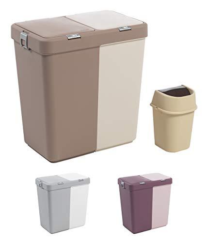 """Mabel Home Plástico de lavandería Cesto con Tapa, 2 Secciones, una lavandería Grande Cesta € """"Basura Extra Bin (1,6 galones) Inc. (Marrón Gris)"""