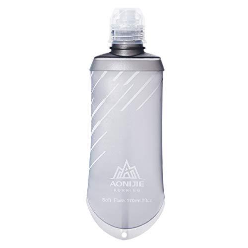 Azarxis Soft Flask Botella de Agua Blanda 170 ML / 420 ML TPU Flexible Bolsa de Hidratación Deportiva para Correr Senderismo Ciclismo (170ml - 1 Pcs)