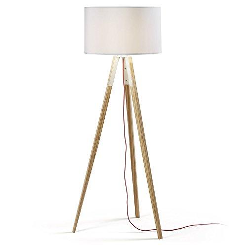 Kave Home - Lámpara de pie Iguazu blanca de madera maciza de pino y algodón 100%