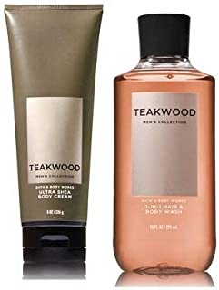 Bath and Body Works Teakwood Men's Collection Ultra Shea Body Cream and 2 in 1 Hair and Body Wash (2 Pack Bundle)