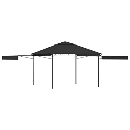 vidaXL Gazebo with Double Extending Roofs Outdoor Garden Canopy Sunshade Shelter Patio Pavilion Poolside Party Tent 3x3x2.75m Anthracite 180g/m²