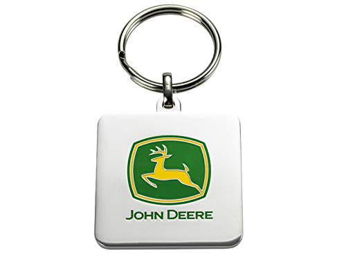 John Deere Metall-Schlüsselanhänger mit geprägtem Logo in Gelb-Grün