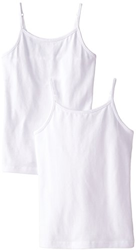 The Children's Place Big Girls' Spaghetti-Strap Camisole (Pack of Two), White/White, Large (10/12)