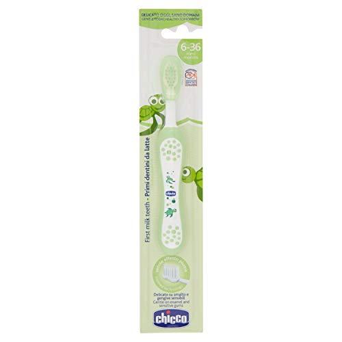 Chicco - Cepillo dental divertido con cerdas suaves para 6-36 meses, color verde