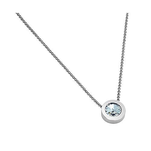 Heideman Halskette Damen Coma 16 aus Edelstahl Silber Farben matt Kette für Frauen mit Swarovski Zirkonia Weiss oder farbig mit Erbskette in verschiedenen Längen Crystal Gr. hk2128-1-1-56