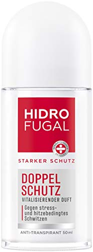 Hidrofugal Doppel Schutz Roll-on (50 ml), starker Anti-Transpirant Schutz gegen stress- und hitzebedingtes Schwitzen, Deo für starken Schutz ohne Ethylalkohol