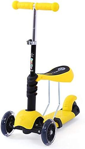 GRXXX Little Kids 3 Wheel Kick Scooter - Dreiroller mit LED-Beleuchtung, perfekt für Kinder ab 3 Jahren,Gelb-OneGröße