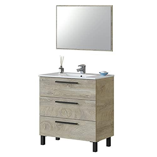 ARKITMOBEL Mueble de Baño con 3 Cajones y Espejo, Modulo Lavabo, Modelo Athena, Acabado en Roble Alaska, Medidas: 80 cm (Ancho) x 86 cm (Alto) x 45 cm (Fondo)