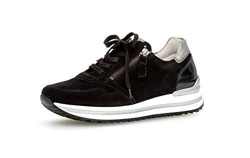Gabor Damen Low Top Sneaker, Frauen Halbschuhe,lose Einlage,Komfortable Mehrweite (H),Freizeitschuhe,Sneaker,Wedge,schwarz/Grey(perf),40 EU / 6.5 UK