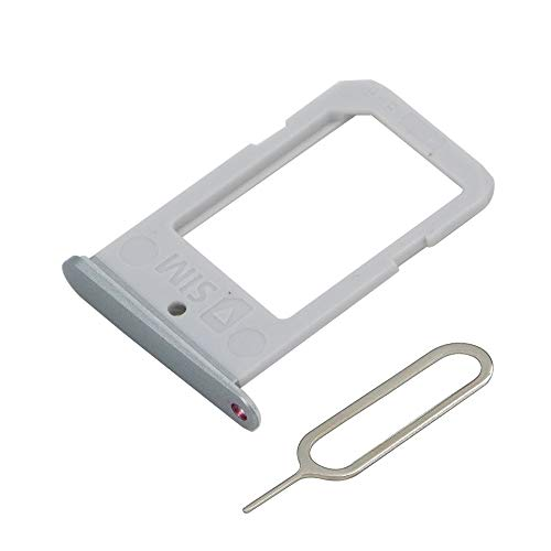 MMOBIEL SIM Karte Schlitten Tray kompatibel mit Samsung Galaxy S6 Edge G925 5.1 Inch (Silver) inkl. SIM Pin
