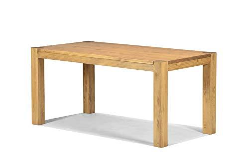Naturholzmöbel Seidel Esstisch 160x80cm Rio Bonito Farbton Honig hell Pinie Massivholz geölt und gewachst Holz Tisch für Esszimmer Wohnzimmer Küche, Optional: passende Bänke und Ansteckplatten