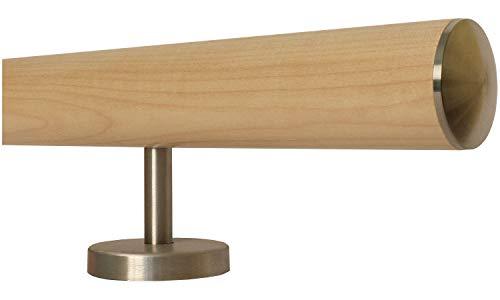 Ahorn Holz Treppe Handlauf Geländer Griff gerade Edelstahlhalter, Länge 30-500 cm aus einem Stück/Beispiel: 100 cm mit 2 Halter leicht gewölbte Edelstahlkappe